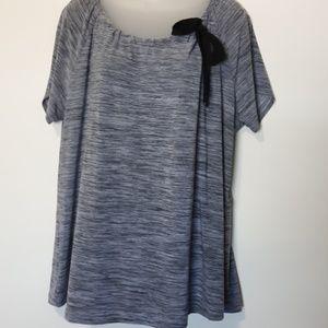 Liz Mccoy Woman Gray Short Sleeve Top 2x